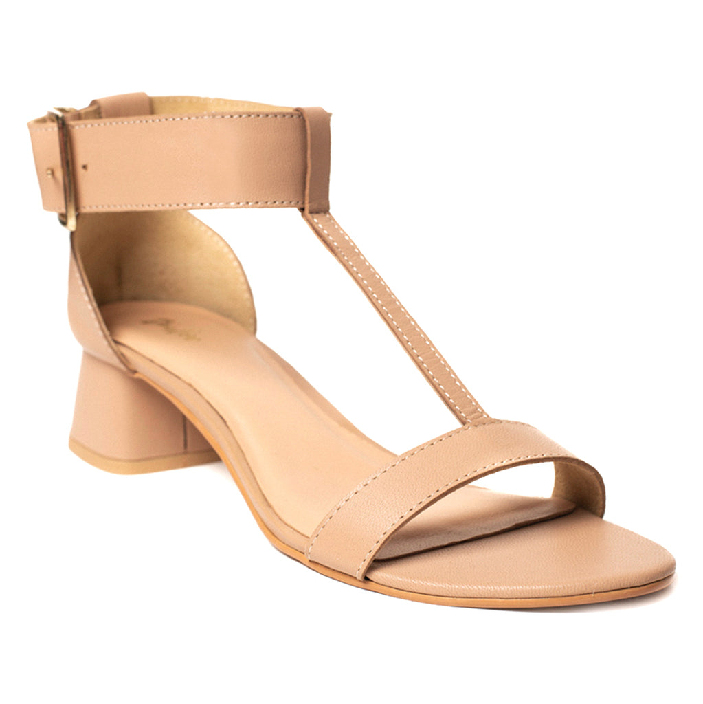 Natural Nude Square Buckle Heel