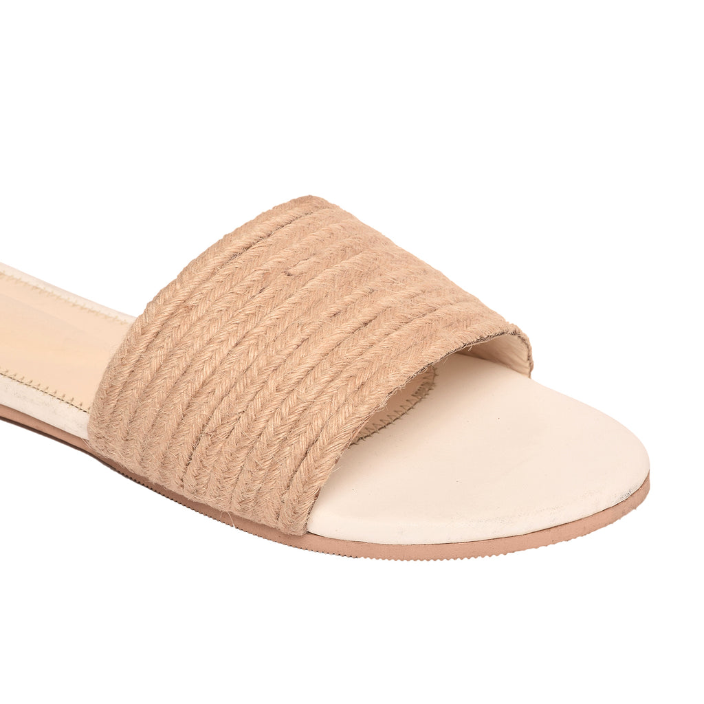 White Jute Slip-on Flat