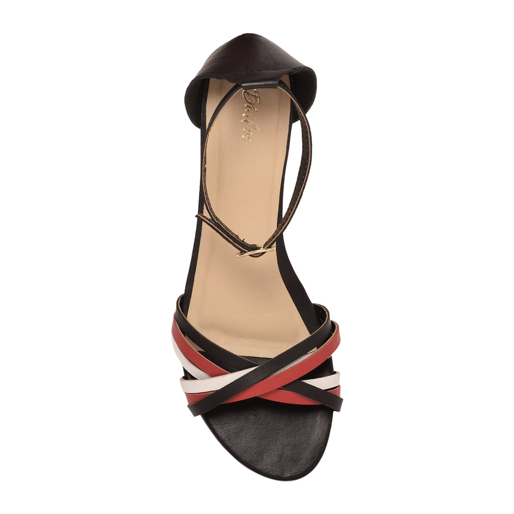 Scarlet Red & Black Delicate Strap Mid Wedge