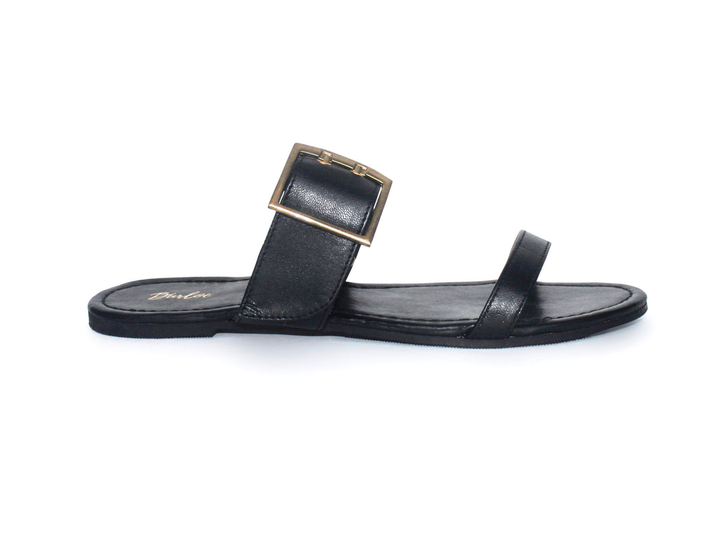 Sable Black Two-Strap Square Buckle Flat