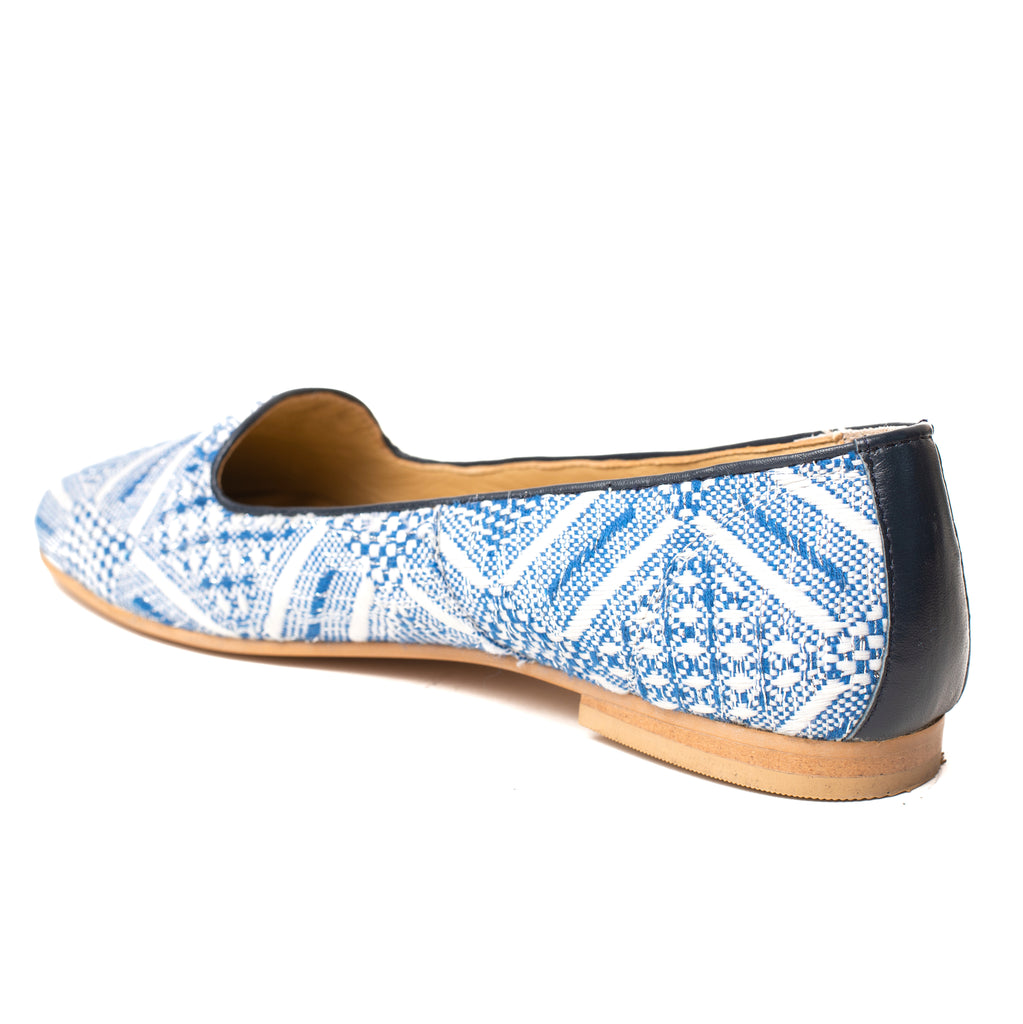 Navy Blue and White Jacquard Loafer