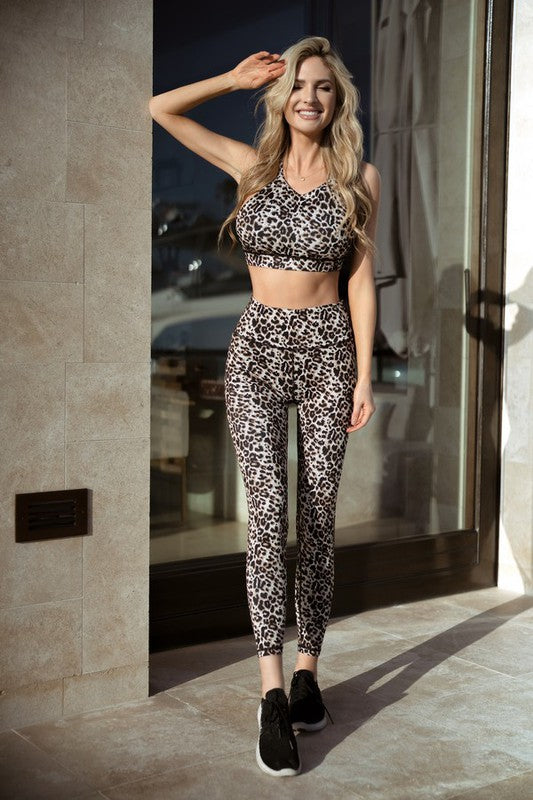 Active Leopard Print Workout Set