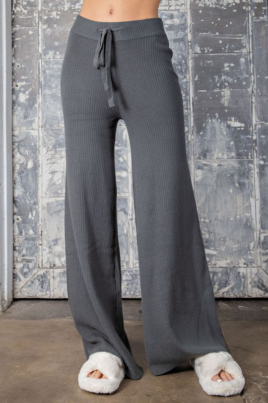 Let's Lounge High Waist Knit Pants - Charcoal