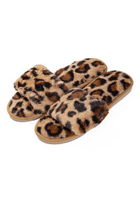 Leopard Print Faux Fur Slipper Slides