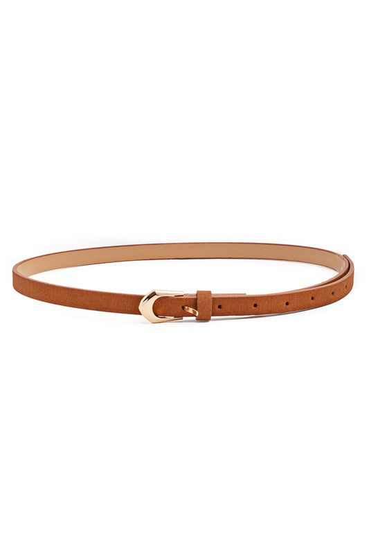 Caramel Brown Skinny Belt w/ Gold Buckle
