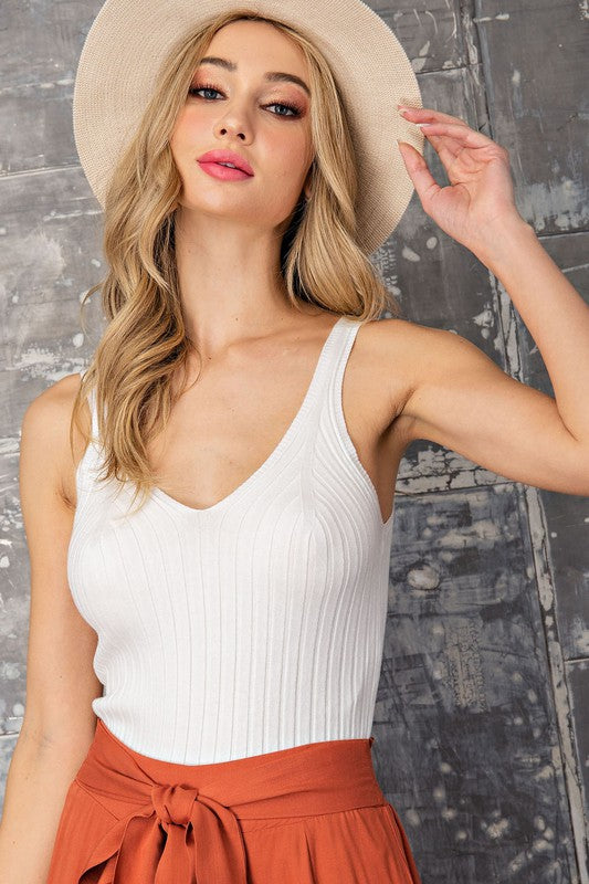 Simple Moments Ribbed V-Neck Tank Top - White