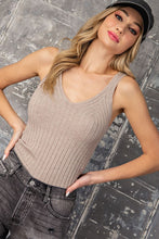 Load image into Gallery viewer, Simple Moments Ribbed V-Neck Tank Top - Oatmeal