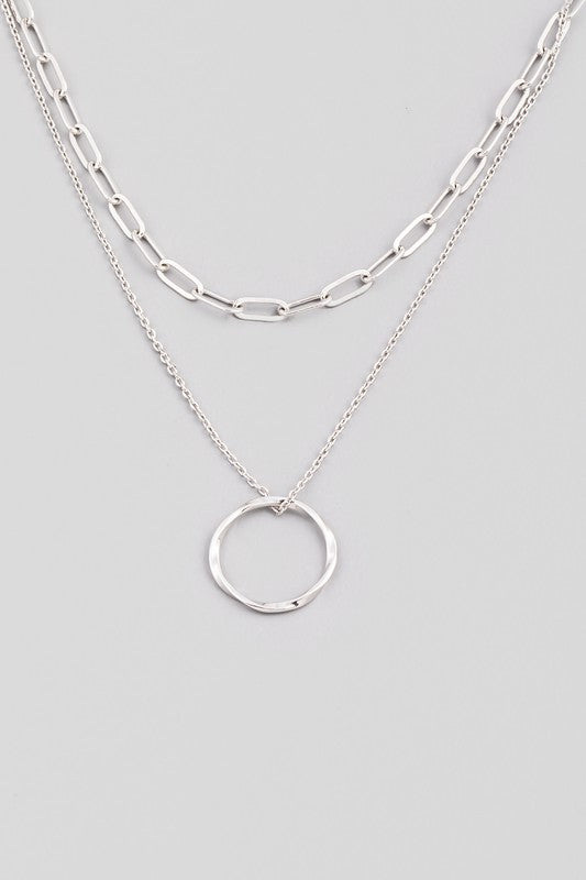 Layered Chain & Circle Pendant Necklace - Silver