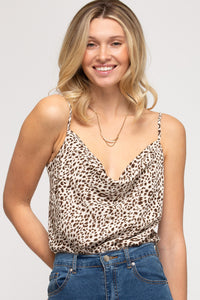 Eyes On Me Cowl Neck Leopard Bodysuit Cami