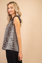 Load image into Gallery viewer, Cool Again Leopard Ruffle Shoulder Tank Top