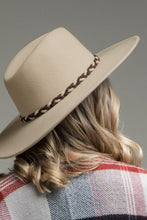 Load image into Gallery viewer, Beige Wool Panama & Braided Belt Trim Hat