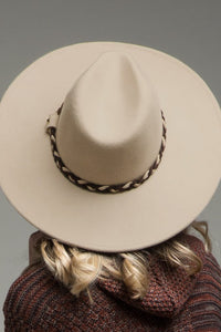 Beige Wool Panama & Braided Belt Trim Hat