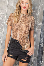 Load image into Gallery viewer, Take it Easy Snakeskin Print Mesh Bodysuit