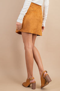 Camel Button Front Suede Mini Skirt