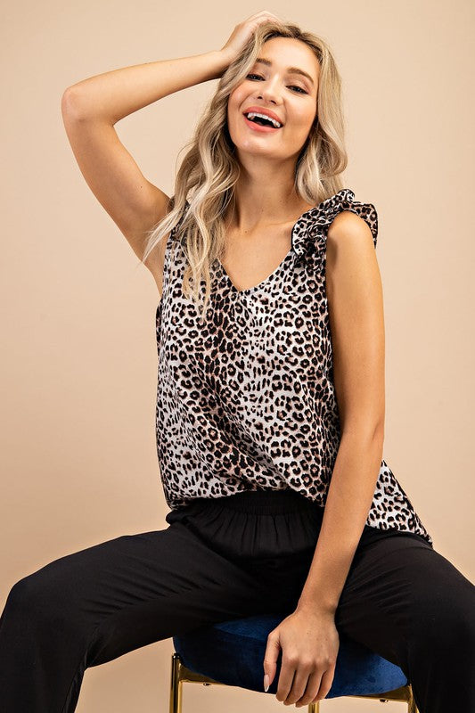 Cool Again Leopard Ruffle Shoulder Tank Top