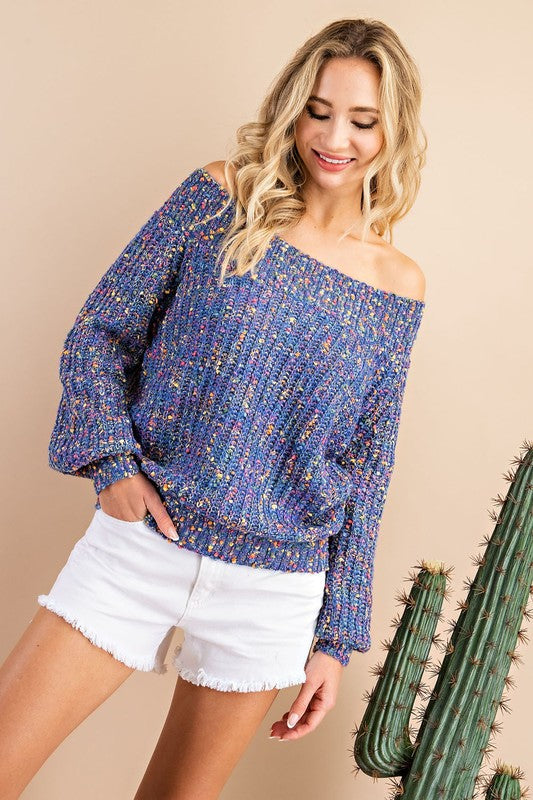 Pop of Color Confetti Off Shoulder Sweater