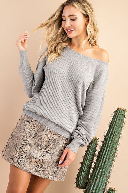 Let Loose Long Sleeve Grey Knit Sweater