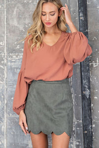 Scalloped Suede Mini Skirt - Olive