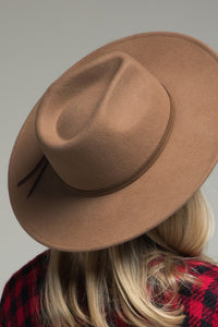 Pecan Wool Panama & Belt Trim Hat