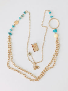 Pink Panache Gold Chain Necklace w/ Oval Feature & Turquoise Stone Details