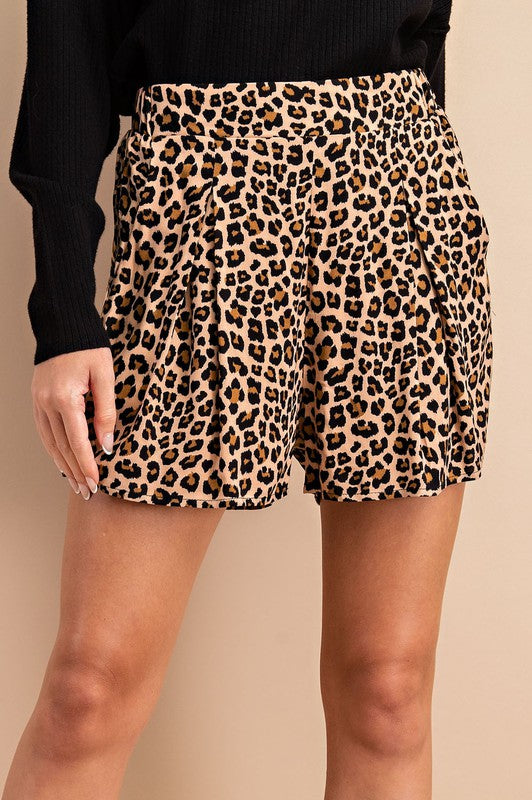 Leopard Print Pleated Shorts