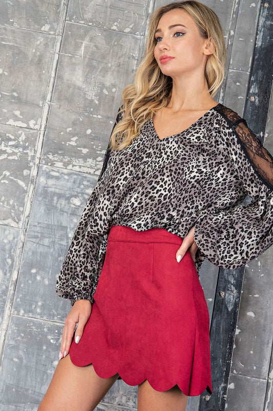 Scalloped Suede Mini Skirt - Wine