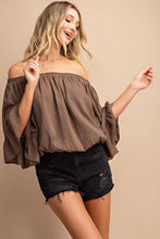Load image into Gallery viewer, Better Days Off Shoulder Top - Brown