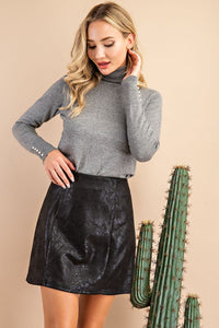 Black Snake Skin Mini Skirt