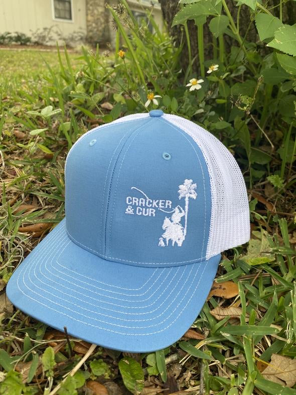 Cracker & Cur Side Logo Hat - Columbia Blue/White