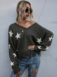 Star Struck V Neck Sweater