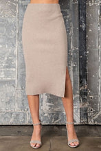 Load image into Gallery viewer, Covering The Basics Classy Midi Knit Skirt - Oatmeal
