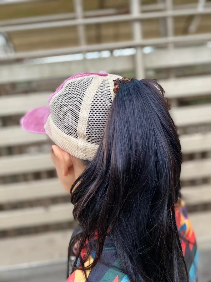 Cracker & Cur Faded Red/Tan Ponytail Hat