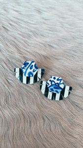 Audra Style Stud Muffin Earrings - Blue White & Black