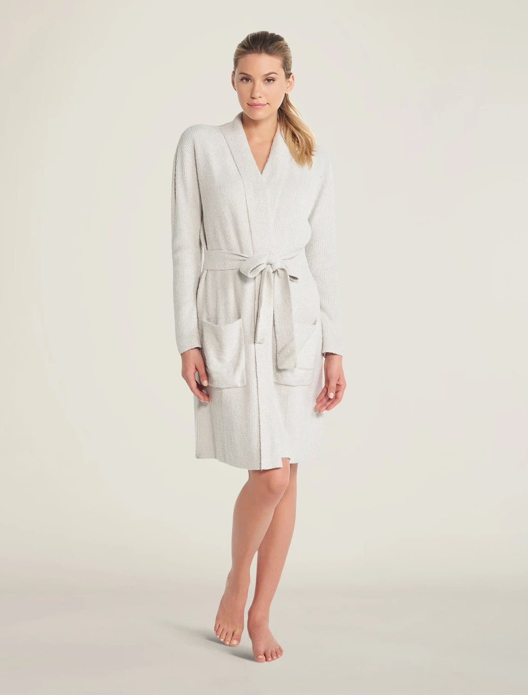 CozyChic Lite® Ribbed Robe Color - Heathered Silver / Pearl