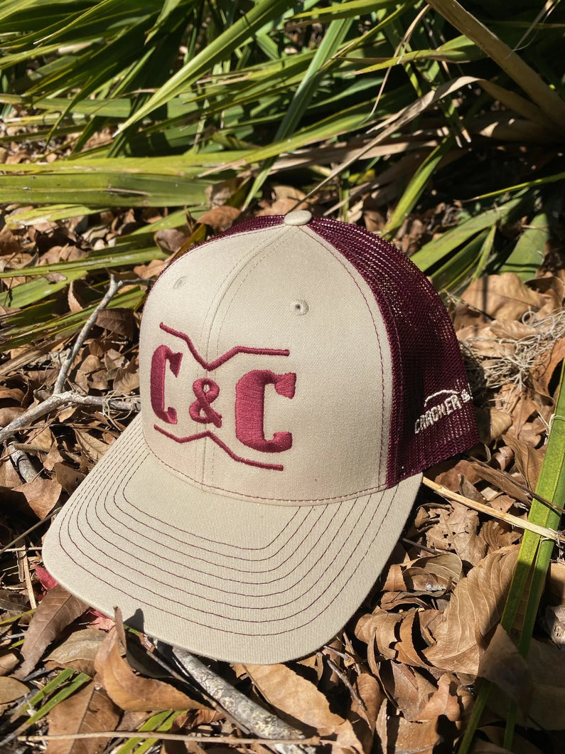 Cracker & Cur Khaki/Maroon Hat