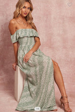 Load image into Gallery viewer, Above Average Off Shoulder Ruffled Floral Side-Slit Maxi Dress