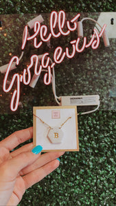 "T&B ""B"" Hexagon Initial Necklace"