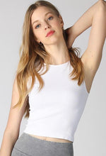 Load image into Gallery viewer, Back To Basics Ribbed Highneck Crop Top - One Size White