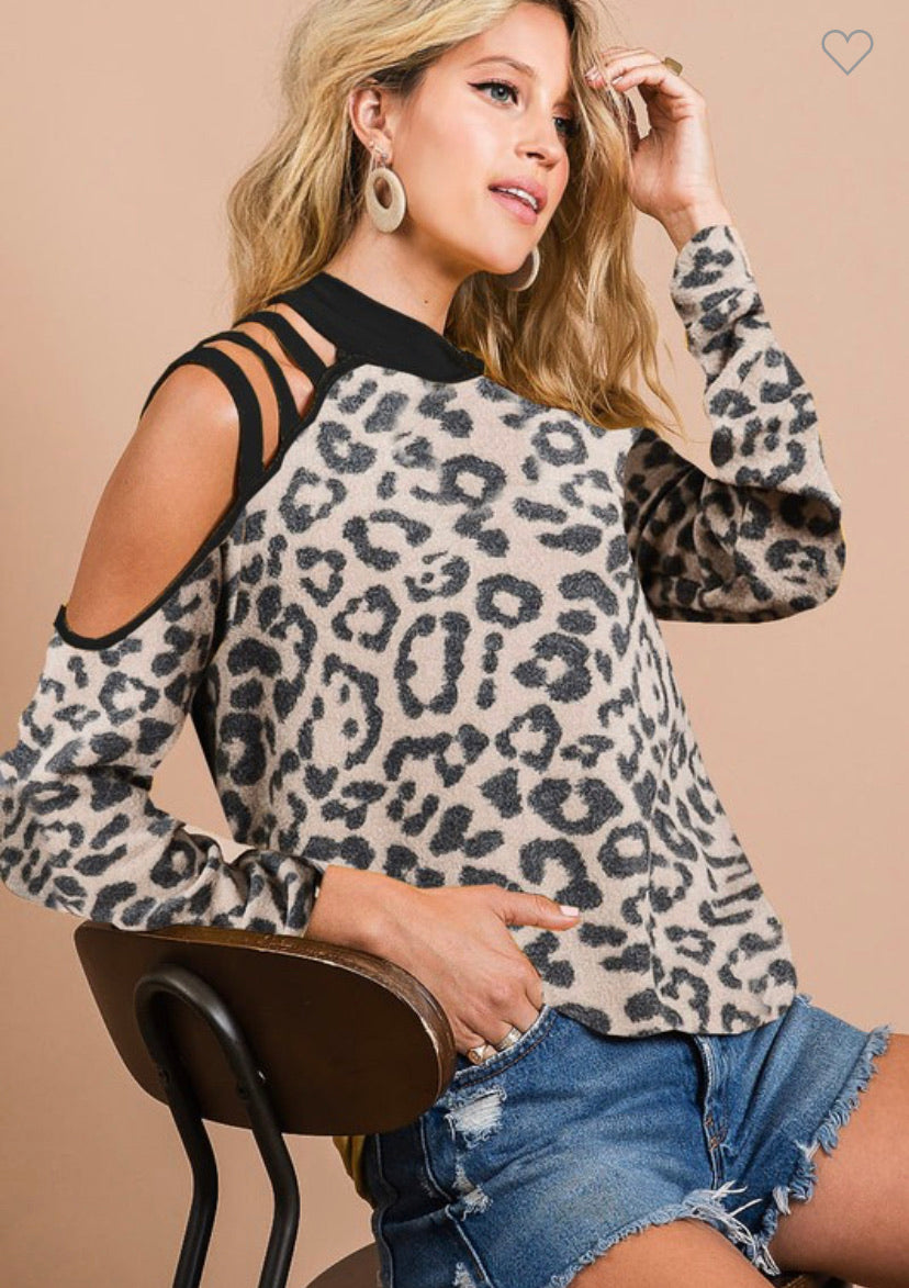 Leopard & Black Strappy Long Sleeve Top