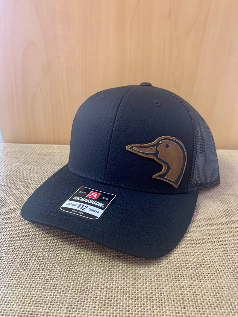 Brown Duck Leather Patch Richardson SnapBack- Black