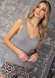 Simple Moments Ribbed V-Neck Tank Top - Gray