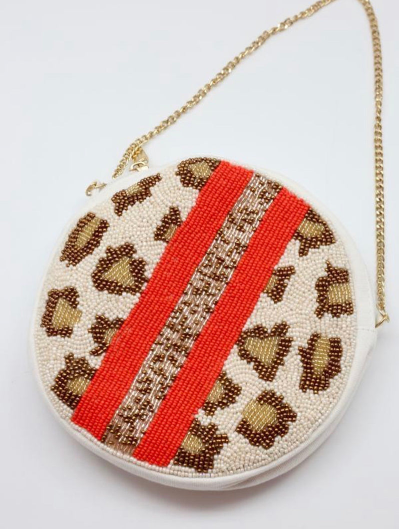 Lestie Beaded Leopard Print Round Crossbody Orange