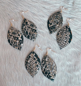 Snake Print Oval Leather Earrings