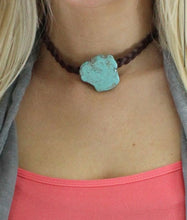 Load image into Gallery viewer, Turquoise Stone Braided Choker