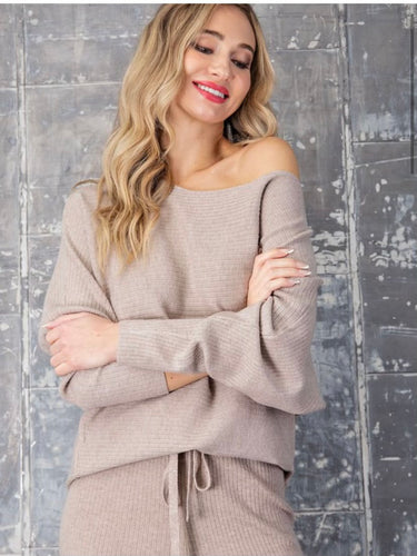 Cozy Days Oatmeal Off Shoulder Sweater
