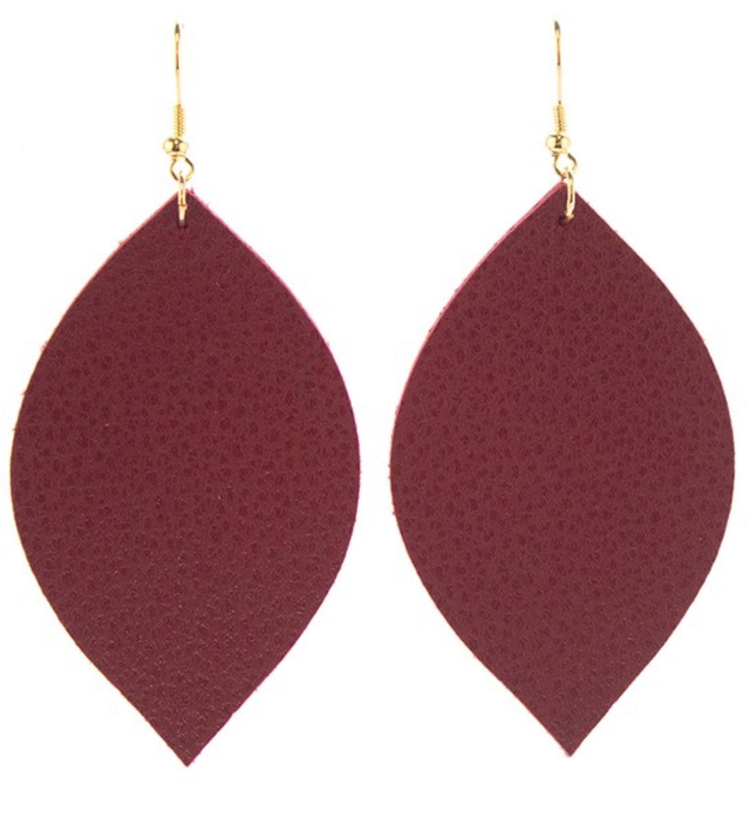 Burgundy Oval Leather Earrings