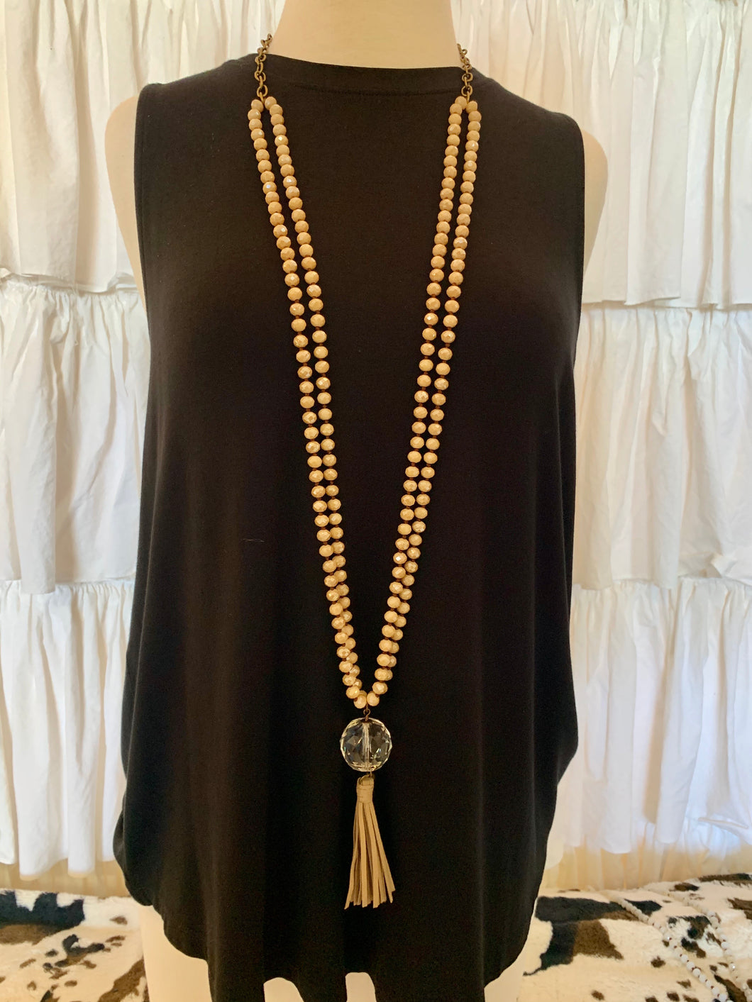 Pink Panache Taupe Doubled Beaded Necklace w/ Crystal Pendant & Taupe Tassel