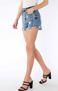 Kan Can High Rise Medium Wash Cut Off Shorts