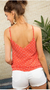 Coral & White Spotted Lace Cami