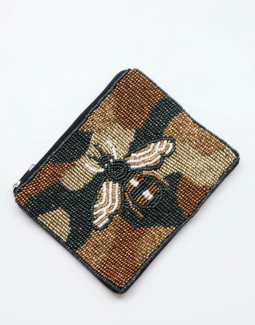 Canyon Beaded Camo Bee Coin Purse Olive